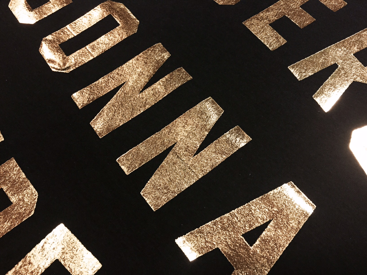 Black t shirt with gold design - Gold Foil On A Black T Shirt Marshall Atkinson